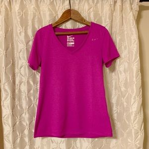NIKE V Neck Dri-Fit Tee magenta hot pink